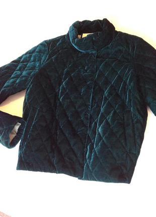 Бархатная куртка! красивый бутылочный цвет!!!