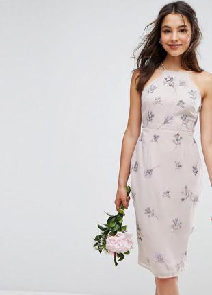Платье миди с вышивкой и пайетками asos