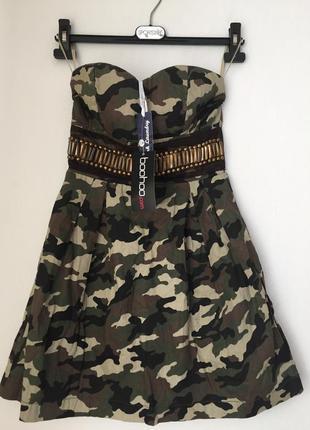 Платье милитари boohoo xs