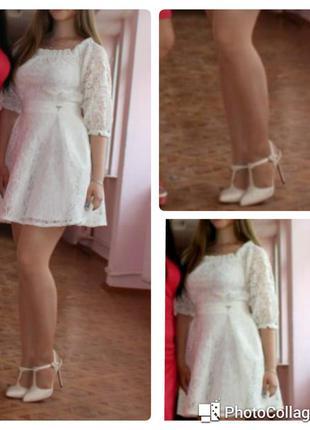Нарядное, ажурное, гипюровое платье без плеч. кремовое. m (s) выпускное торжественное
