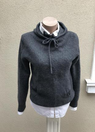 Серая,кашемировая кофта, свитшот с капюшоном,свитер, кашемир 100%, gap