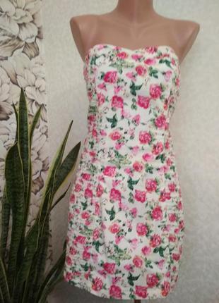 Мини платье по фигуре, в цветочек, бюстье, хлопок. 1+1= 50% скидки на 3ю вещь.