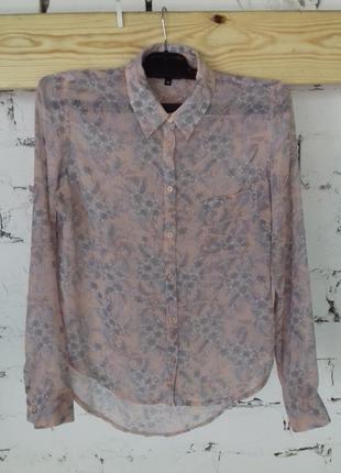 Блуза рубашка в цветочек