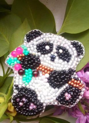 Брошь панда ручной работы