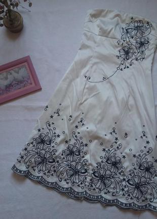 """Платье-бюстье оттенка """"айвори"""" с вышивкой и пайетками jane norman"""