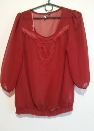 Красивая шифоновая блуза цвета бордо 8/10роз.