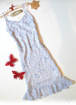 Нежное платье миди с воланом в бельевом стиле с вышивкой шифоновое легкое