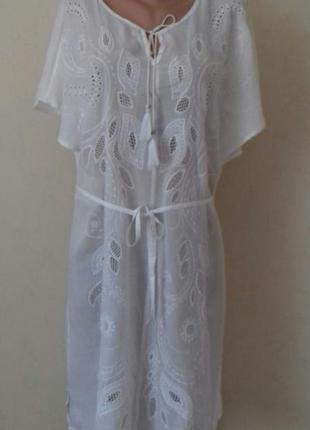 Новое легкое натуральное платье с вышивкой