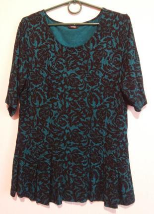 Красивая футболочка блуза с ажурным принтом 16роз.