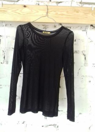Блуза сетка гольф черного цвета