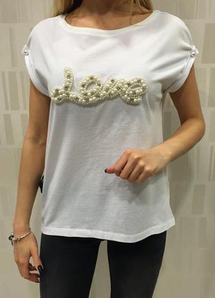 Xs s m l новая белая блузка летняя футболка стильная с надписью love с жемчужинами
