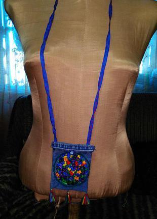 Маленькая вышитая джинсовая сумочка- кошелек