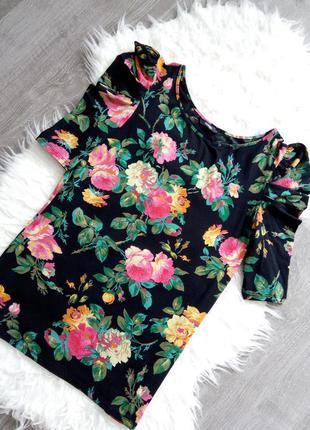 Модная красивая футболка-кофта в принт розы от george l-m