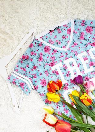 Вкорочена футболка/топ в принт квітів