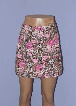 Красивая юбка трапецией на кнопках/вельвет