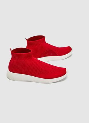 Красные кроссовки из ткани zara 36-40 р.