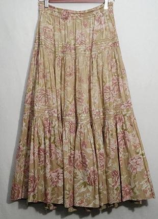 Laura ashley, юбка в розы коттон, made in great britain