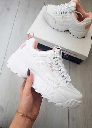 Fila disruptor 2 белые с розовым кроссовки новые натур.кожа женские все размера 36-40