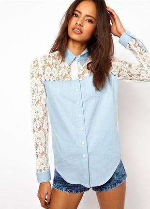 Джинсовая рубашка блузка из денима с кружевом denimco р.l/40/12 новая синяя