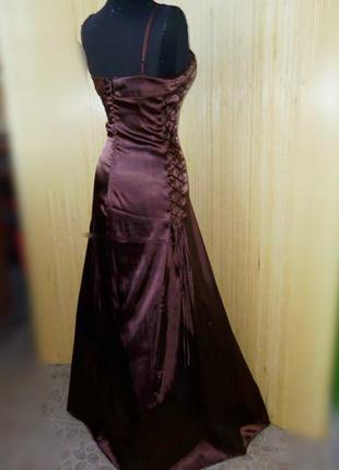 Вечернее атласное платье в пол с фатином с корсажем yves calin paris2