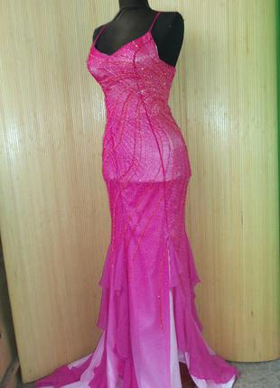 Шёлковое вечернее платье расшитое бисером с открытой спиной juz culture