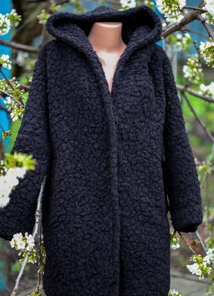 Пальто оверсайз букле барашек капюшон карманы весна осень