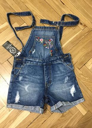 Новый трендовый комбинезон вышивка цветы комбез шортами шорты комбинезон