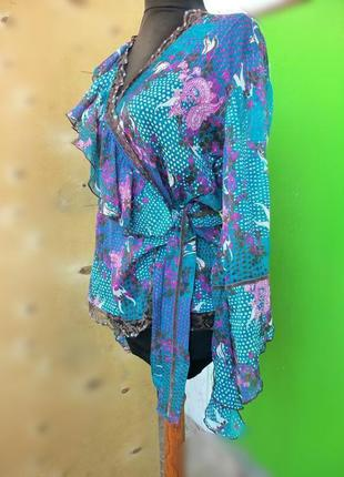Летящая блуза туника на запах расшитая бисером2 фото