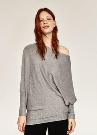 Ассиметричный серый свитер джемпер пончо zara knit