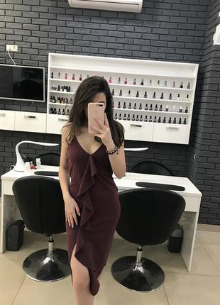 Платье миди  цвета марсала missguided