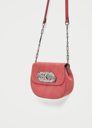Кожаная 100% сумочка через плече оригинал из испании zara
