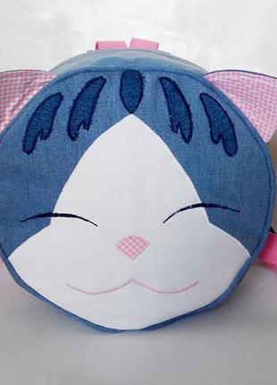 Кіт джинсовий рюкзак для маленької дівчинки