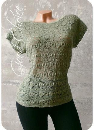 Ажурная вискозная футболка/блуза цвета оливковый хаки - papillon