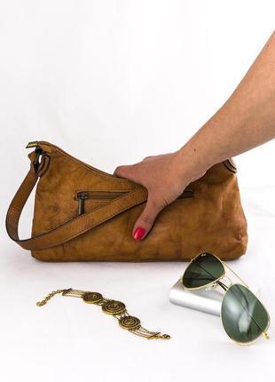 Кожаный клатч, с ручкой, genuine leather, италия