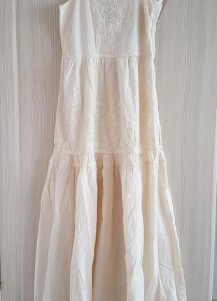 Хлопковый летний молочно-белый сарафан h&m с вышивкой.100% хлопок.