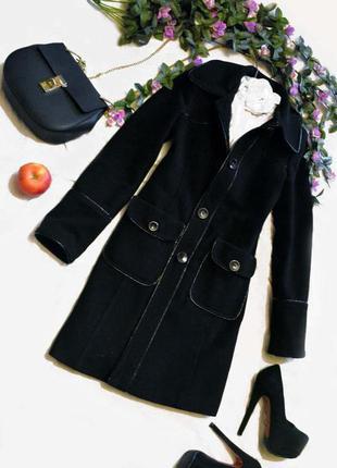 Пальто черное кашемировое весна осень s m шерстяное,
