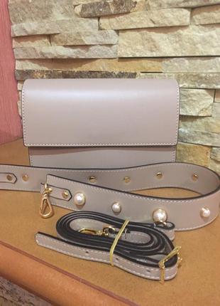 Кожаная сумочка с двумя ремнями