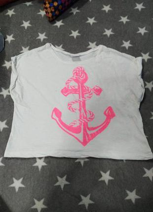Белый кроп топ белая футболка с розовым якорем морской принт