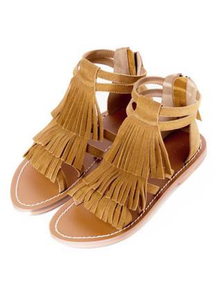 Кожаные замшевые босоножки  с бахромой сандалии гладиаторы mango zara