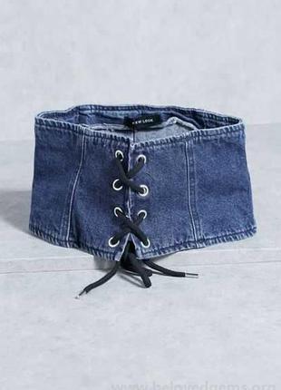 Джинсовый пояс-корсет на шнуровке new look