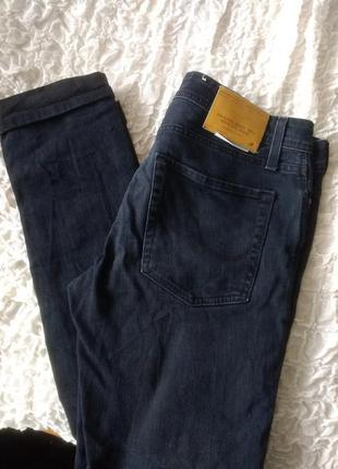 Красивые темные рваные джинсы ben skinny fit jack&jones оригинал 32/34