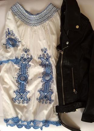 Крутое актуальное платье вышиванка оверсайз в стиле zara короткая туника с вышивкой