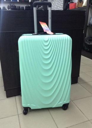 Супер цена! большой чемодан из поликарбоната премиум сегмент мятный! валіза велика мятна