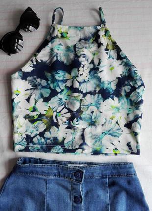 Кроп топ укорочённый майка футболка блузка цветочный принт