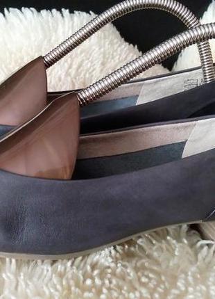 Hush puppies кожа  цвет графи балетки туфли лодочки 40 р по ст 27 см каблуки 3 см