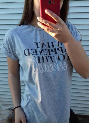 Серая футболка с принтом (s.m.l)