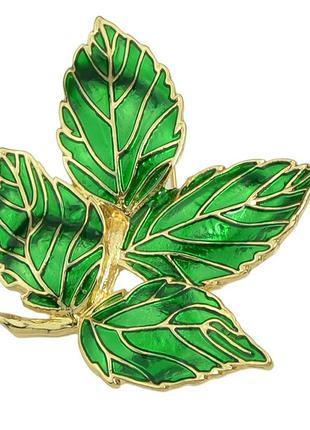 Брошь зеленый листок эмаль h&m