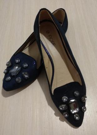 Туфли лоферы балетки с камнями fiore