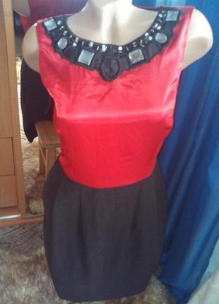 Шикарное комбинированное платье-миди с аппликацией от next