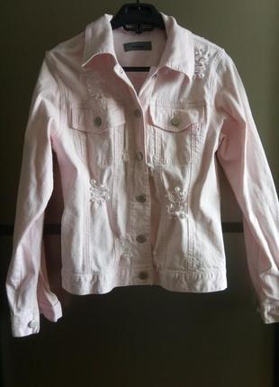 Джинсовая куртка цвета пудры с бусинами montego